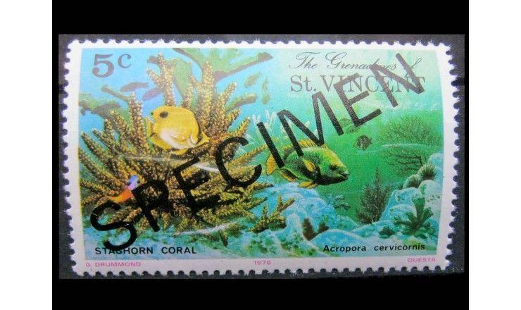 """Гренадины и Сент Винсент 1976 г. """"Кораллы"""" (надпечатка)"""