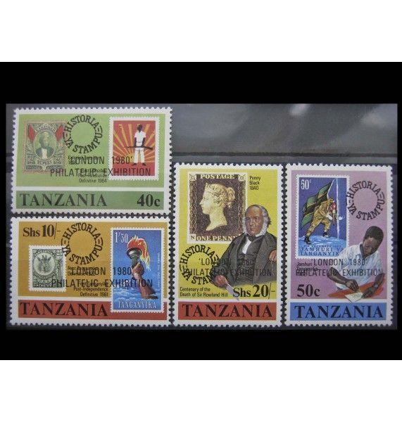 """Танзания 1980 г. """"Филателистическая выставка LONDON 1980"""" (надпечатка)"""