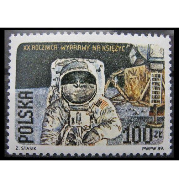 """Польша 1989 г. """"Первая посадка на Луне пилотируемого корабля"""""""