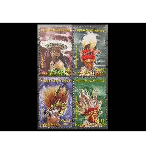 """Папуа-Новая Гвинея 2008 г. """"Традиционные головные уборы"""""""