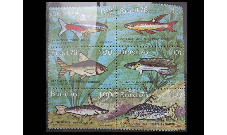 """Бразилия 1976 г. """"Пресноводные рыбы"""""""