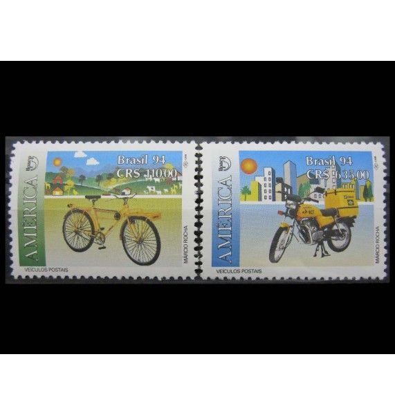 """Бразилия 1994 г. """"Почтовые транспортные средства"""""""