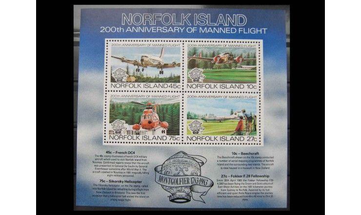 """Остров Норфолк 1983 г. """"200-летие авиации"""""""