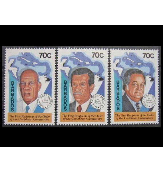 """Барбадос 1994 г. """"Первые носители Ордена Карибского сообщества"""""""