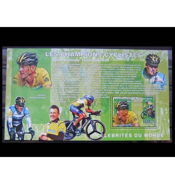 "ДР Конго 2006 г. ""Велоспорт, Лэнс Армстронг"""