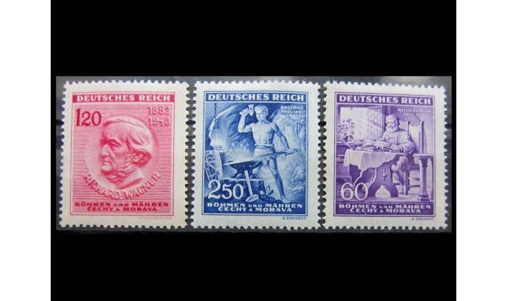 """Германия (Богемия и Моравия) 1943 г. """"130-летие Рихарда Вагнера"""""""