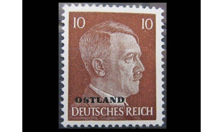 """Германия (Оккупация Прибалтики) 1943 г. """"Адольф Гитлер""""(надпечатка)"""