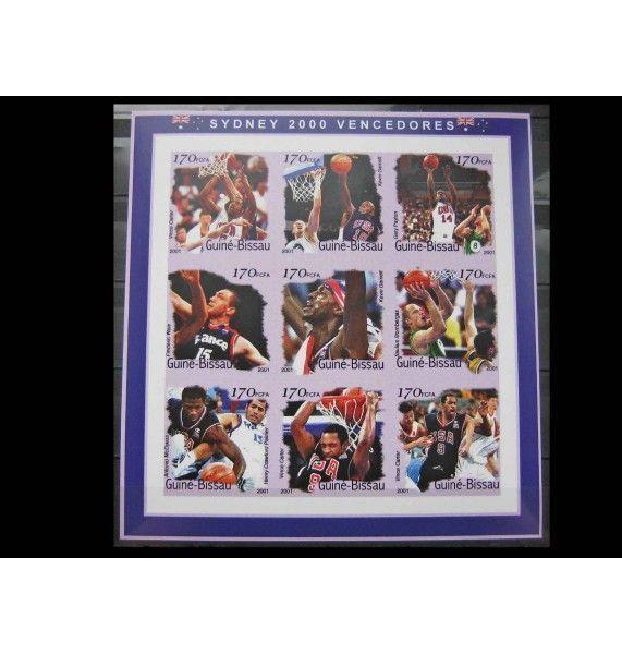 """Гвинея-Бисау 2001 г. """"Золотые медалисты Летних Олимпийских игр 2000, Баскетбол"""""""