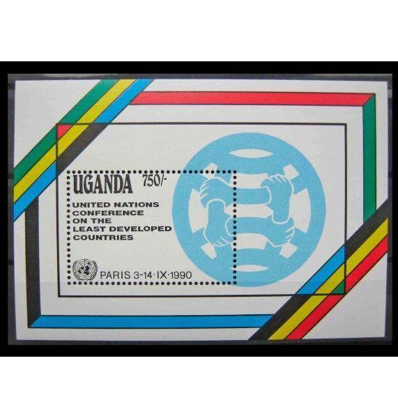 """Уганда 1990 г. """"10 лет Панафриканскому почтовому союзу; Конференция ООН по наименее развитым странам"""""""