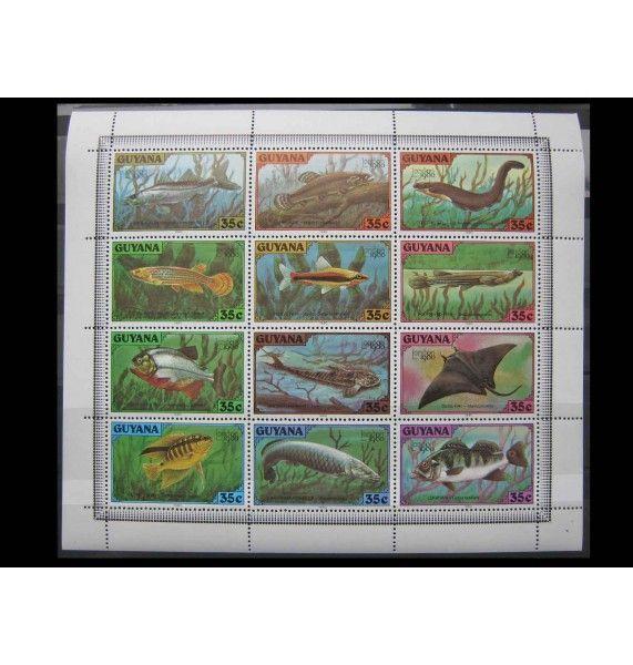 """Гайана 1980 г. """"Филателистическая выставка LONDON 1980: Рыбы"""""""