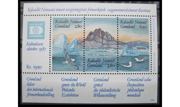 """Гренландия 1987 г. """"Филателистическая выставка HAFNIA`87, Копенгаген"""""""