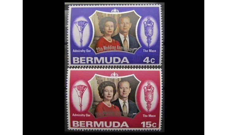 """Бермудские Острова 1972 г. """"Серебряная свадьба английской королевской пары"""""""