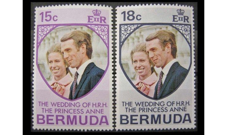 """Бермудские Острова 1973 г. """"Свадьба принцессы Анны и Марка Филлипса"""""""