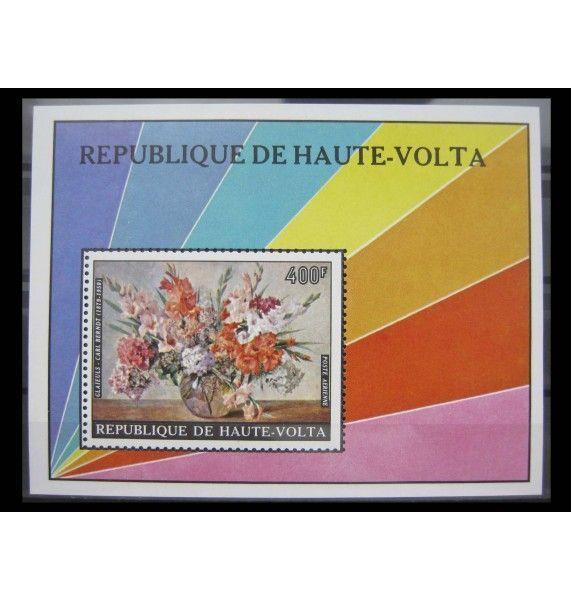 """Республика Верхняя Вольта 1974 г. """"Цветы на картинах"""""""