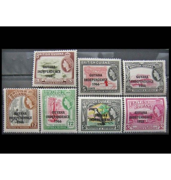 """Гайана 1966 г. """"Независимость"""" (надпечатка)"""