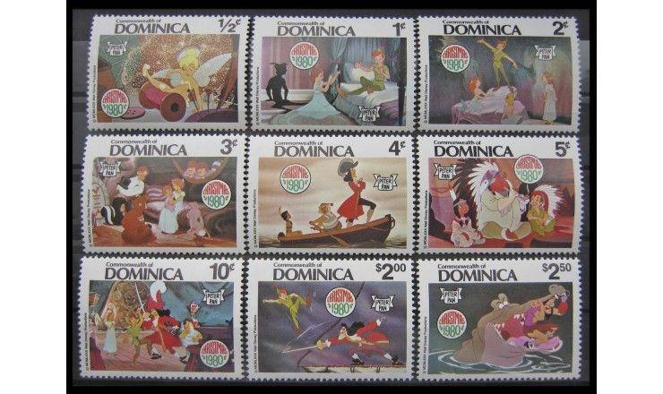 """Доминика 1980 г. """"Рождество: Питер Пэн, Уолт Дисней"""""""
