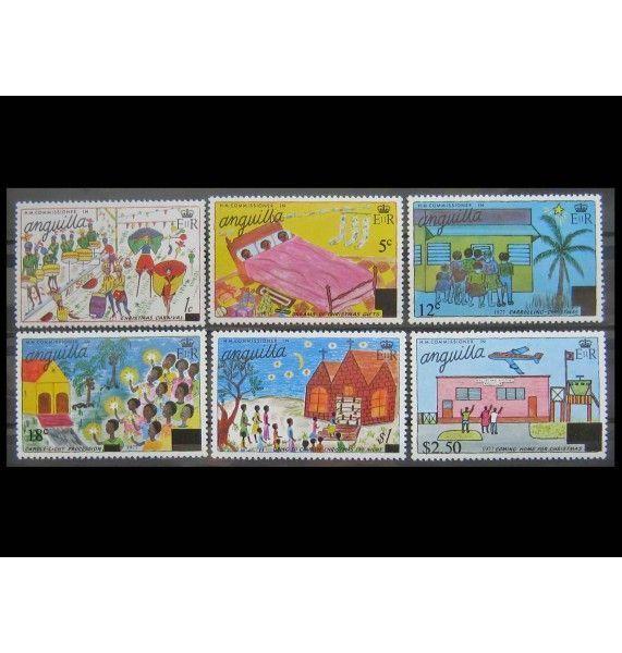 """Ангилья 1977 г. """"Рождество: детские рисунки"""" (надпечатка)"""