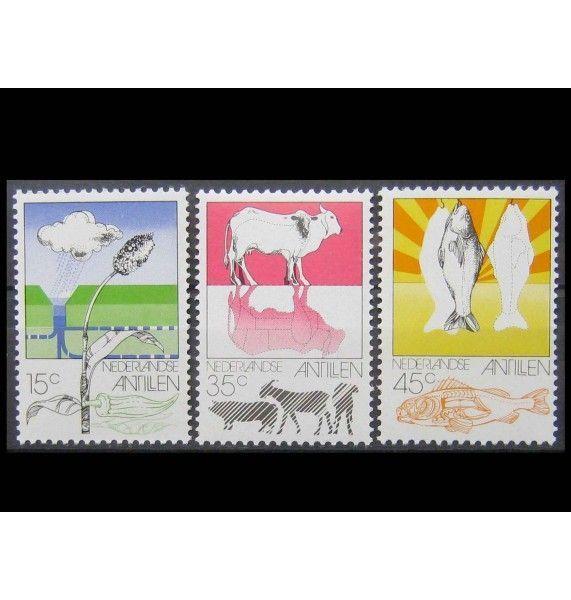 """Нидерландские Антиллы 1976 г. """"Сельское хозяйство, животноводство и рыболовство на Нидерландских Антильских островах"""""""