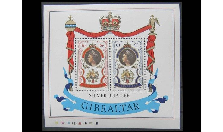 """Гибралтар 1977 г. """"25 лет правления королевы Елизаветы II"""""""