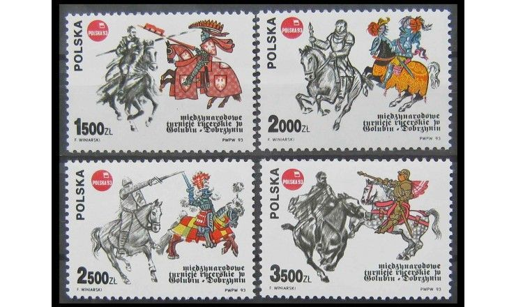 """Польша 1993 г. """"Международная выставка марок """"POLSKA '93. Рыцарский турнир"""""""