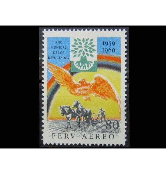 """Перу 1960 г. """"Международный год беженцев: пахарь"""""""