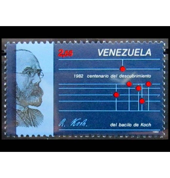 """Венесуэла 1987 г. """"100 лет со дня открытия туберкулезной бациллы Робертом Кохом"""""""