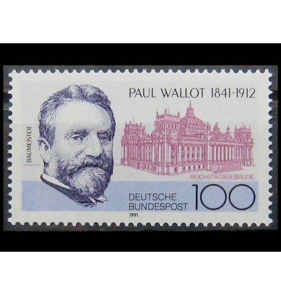"ФРГ 1991 г. ""Пауль Валлот, архитектор"""