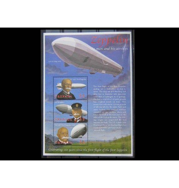 """Гренада 2000 г. """"100 лет первому полету цеппелина"""""""