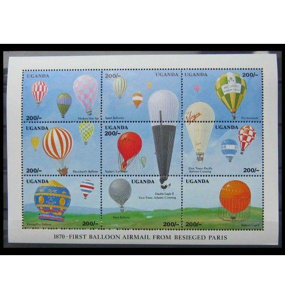"""Уганда 1992 г. """"120 лет полету на воздушном шаре из Парижа, 1990"""""""