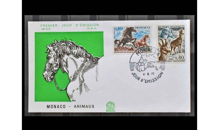 """Монако 1970 г. """"20 лет Всемирному обществу защиты животных"""" FDC"""