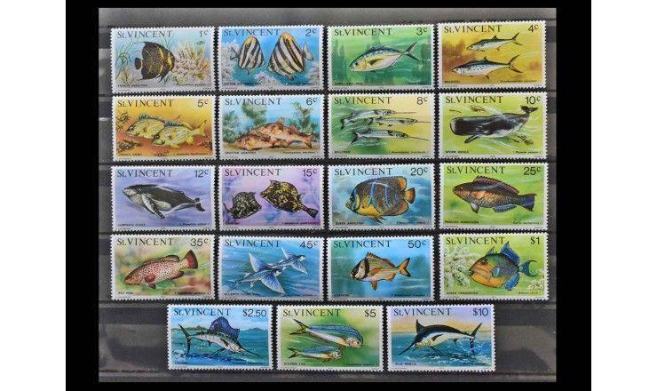 """Сент-Винсент и Гренадины 1975 г. """"Стандартные марки: Морские животные"""""""