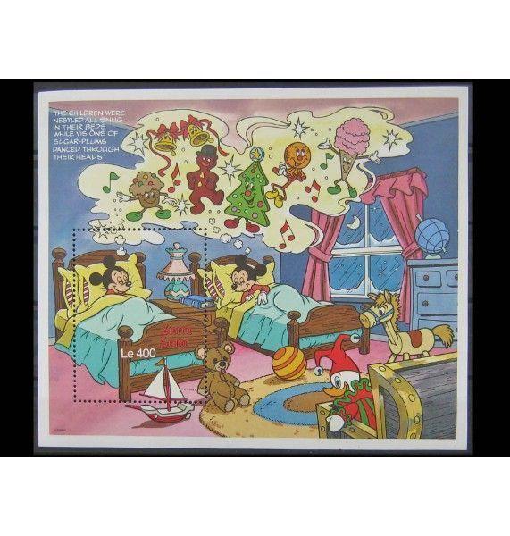 """Сьерра-Леоне 1990 г. """"Рождество: персонажи Диснея"""""""