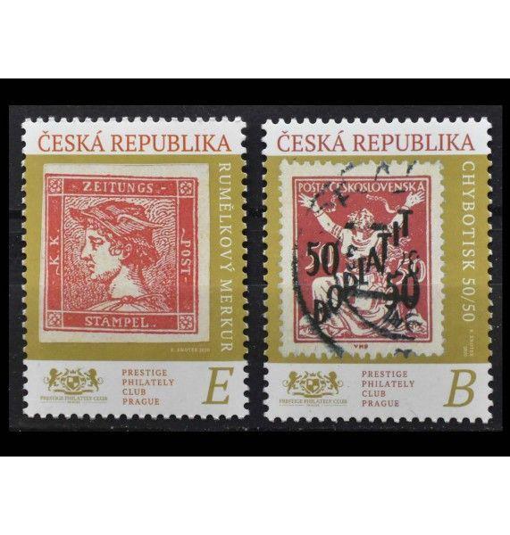 "Чехия 2020 г. ""Марка на марке: Красный Меркурий, Ошибка печати, надпечатка 50 50"""