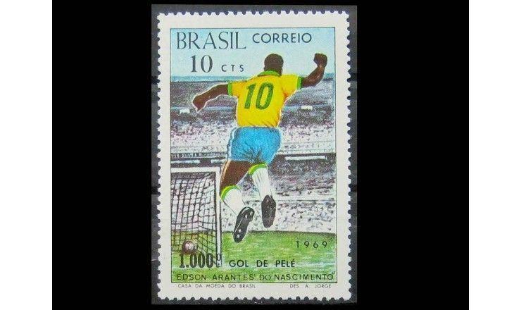 """Бразилия 1969 г. """"1000-ый гол Пеле"""""""