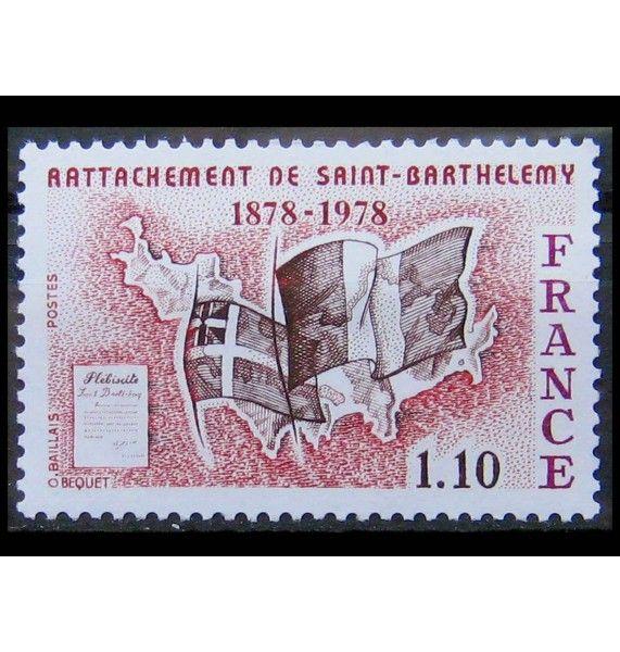 """Франция 1978 г. """"100 лет присоединения острова Сен-Бартелеми к Франции"""""""