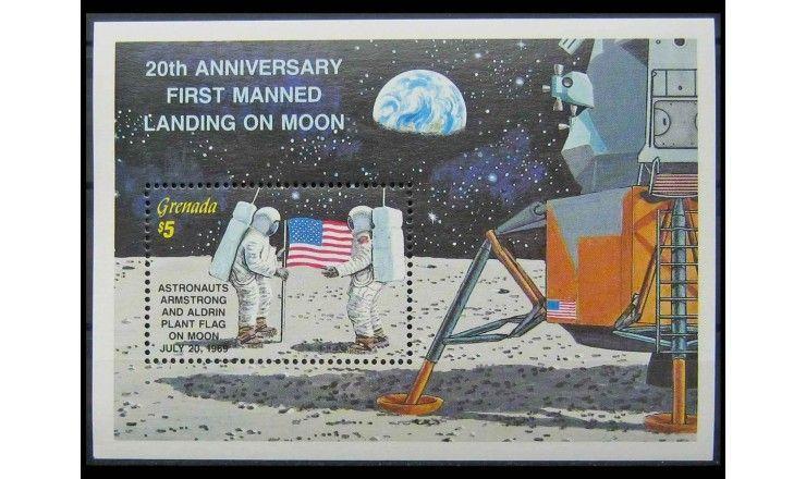 """Гренада 1989 г. """"20 лет первой пилотируемой посадки на Луну"""""""