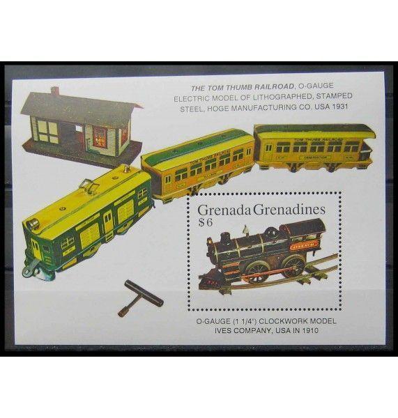 """Гренада и Гренадины 1992 г. """"Старинная американская железная дорога"""""""