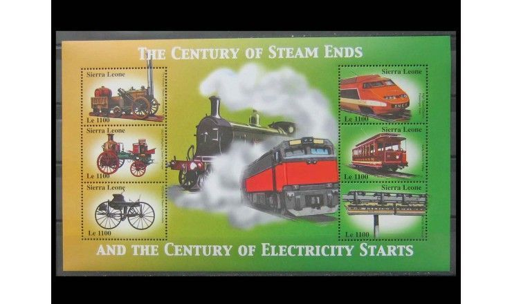 """Сьерра-Леоне 2002 г. """"100 лет паровому и электрическому транспорту"""""""