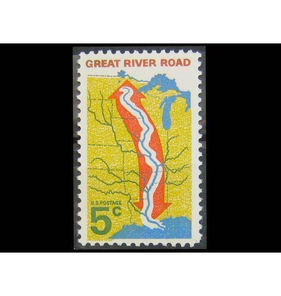 """США 1966 г. """"Карта центральных штатов США с Great River Road, Миссисипи"""""""