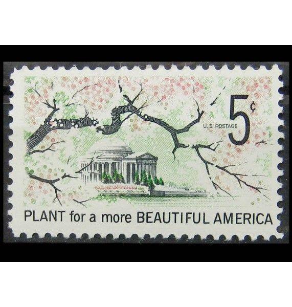 """США 1966 г. """"Ветка с цветами вишни, мемориал Джефферсону"""""""
