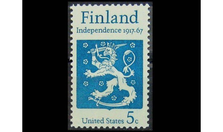 """США 1967 г. """"Финляндия, лев на гербе"""""""