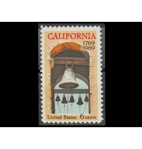 """США 1969 г. """"200 лет штату Калифорния: Колокольня Carmel Mission"""""""