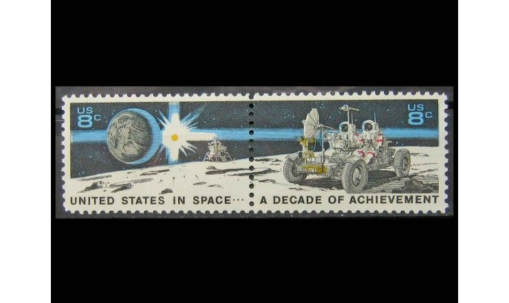 """США 1971 г. """"10 лет космических достижений США"""""""