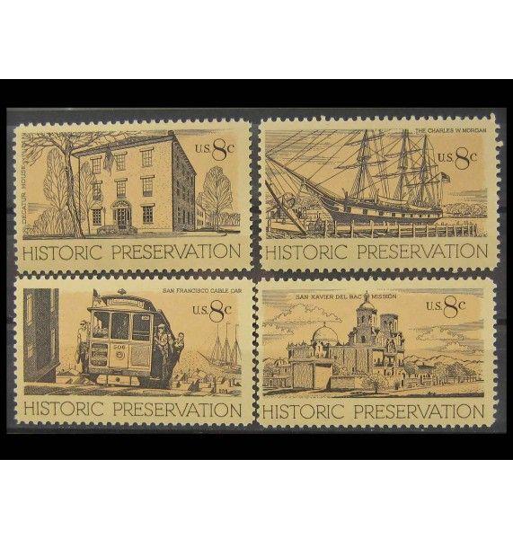 """США 1971 г. """"Исторические здания и транспорт"""""""