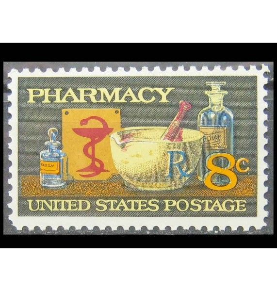 """США 1972 г. """"120 лет американской фармацевтике: ступка и пестик"""""""