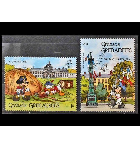 """Гренада и Гренадины 1989 г. """"Международная выставка марок PHILEXFRANCE`89, Париж: Персонажи Уолт Диснея"""""""