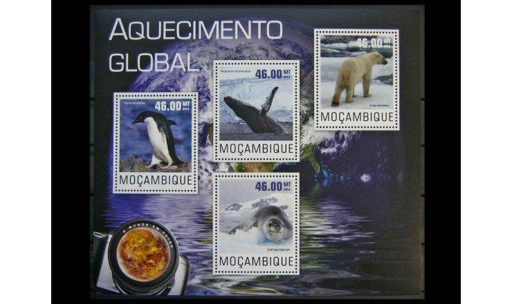 """Мозамбик 2014 г. """"Глобальное потепление, Животные"""""""