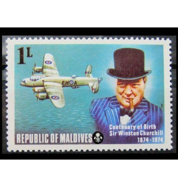 """Мальдивы 1974 г. """"100 лет со дня рождения Уинстона Черчилля"""""""
