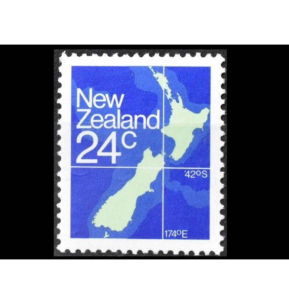 """Новая Зеландия 1982 г. """"Стандартные марки: Географическая карта"""""""