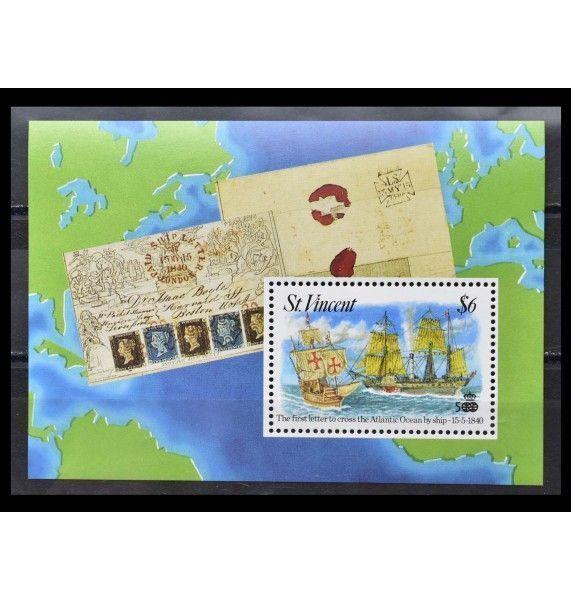 """Сент-Винсент и Гренадины 1992 г. """"Первое трансатлантическое письмо с марками от 15.05.1840 г."""""""
